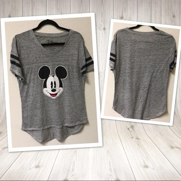 Disney Tops - Disney Mickey Mouse Tee Tshirt LARGE gray black